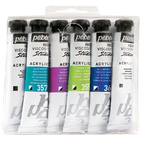 Pebeo Studio Acrylics Set of 6 Dyna Colours 20ml Image 1