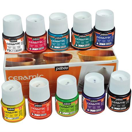 Pebeo Ceramic 10 x 45ml Colours Image 1