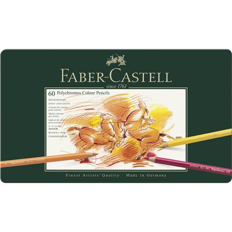 Faber Castell Polychromos Pencils Tin of 60 Image 1