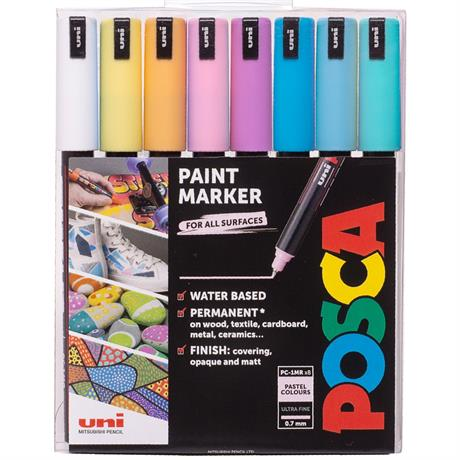 POSCA PC-1MR Pastel Pack 8 Pens Image 1
