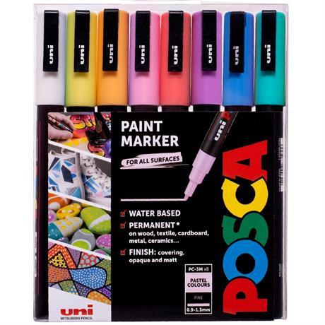 POSCA PC-3M Pastel Pack 8 Pens Image 1