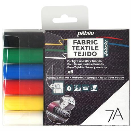 Pebeo 7A Fabric Marker Opaque Set Of 6 Basic Colours Image 1