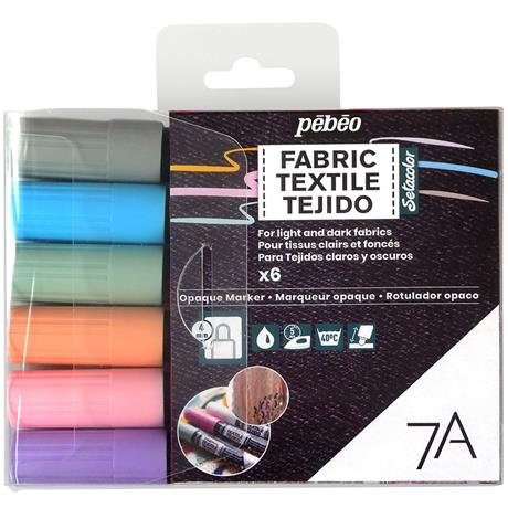 Pebeo 7A Fabric Marker Opaque Set Of 6 Pastel Colours Image 1