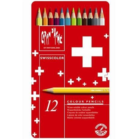 Caran d'Ache Swisscolor Pencils Tin Of 12 Image 1