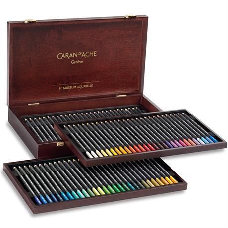 Caran d'Ache Wooden Box Of 76 Museum Aquarelle Pencils Image 1