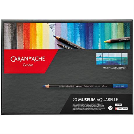 Caran d'Ache Museum Aquarelle Pencils - 20 Marine Assortment Set Image 1