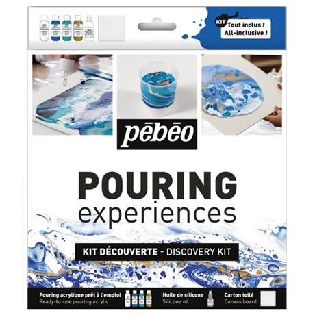Pebeo Pouring Acrylic Discovery Kit 4 x 59ml & Silicone Oil Image 1