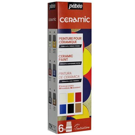 Pebeo Ceramic Initiation Set 6 x 20ml Assorted Image 1