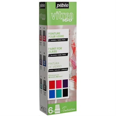 Pebeo Vitrea 160 Glossy Initiation Set 6 x 20ml No.2 Colours Image 1