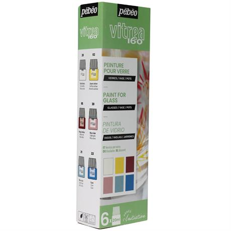 Pebeo Vitrea 160 Glossy Initiation Set 6 x 20ml No.1 Colours Image 1