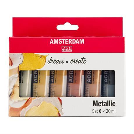 Amsterdam Acrylic Metallics 6x20ml Image 1