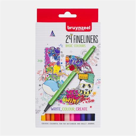 Bruynzeel Fineliner 24 Basic Colour Set Image 1