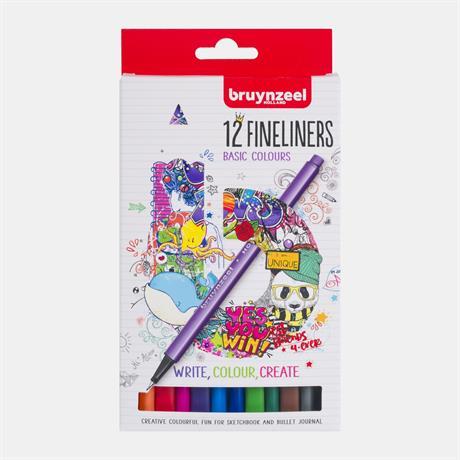 Bruynzeel Fineliner 12 Basic Colour Set Image 1