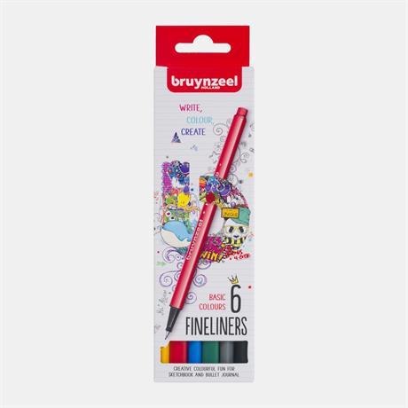 Bruynzeel Fineliner Basic 6 Colour Set Image 1