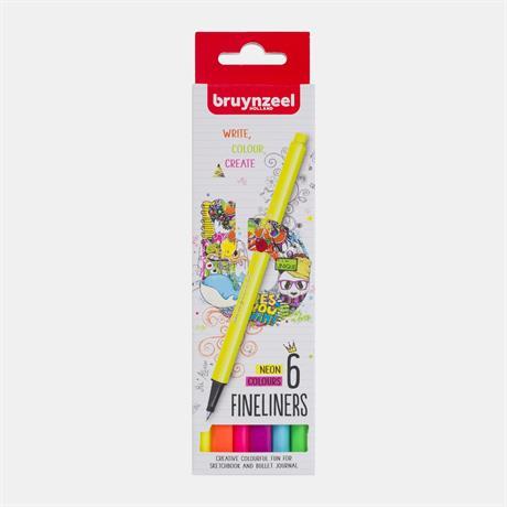 Bruynzeel Fineliner Neon 6 Colour Set Image 1