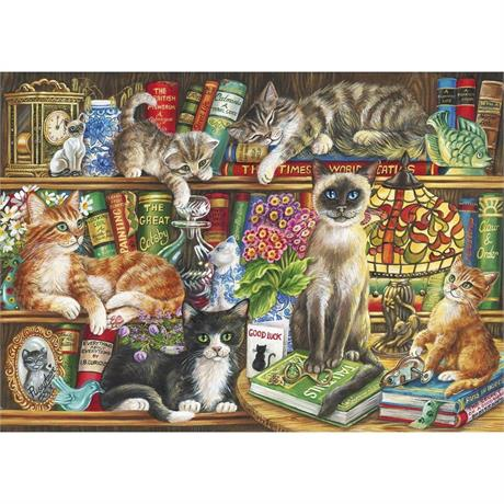 Puss In Books Jigsaw 1000pc Image 1