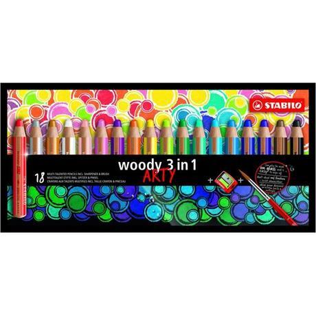 STABILO Woody Pencils Pack of 18 + Sharpener Image 1