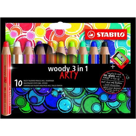 STABILO Woody Pencils Pack of 10 + Sharpener Image 1