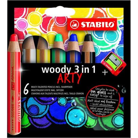 STABILO Woody Pencils Pack of 6 + Sharpener Image 1