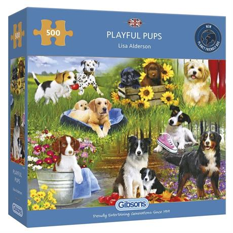 Playful Pups Jigsaw 500pc Image 1
