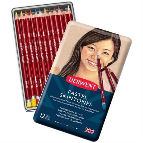 Derwent Pastel Pencil Skintones Tin of 12 Image 1