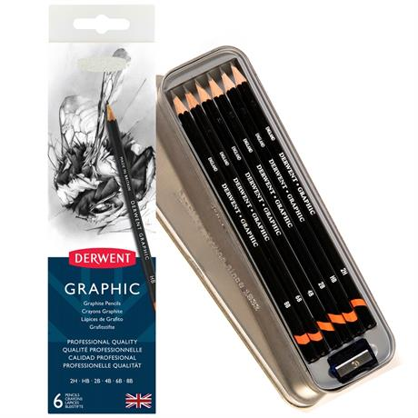 Derwent Graphic Pencils Tin of 6 Image 1