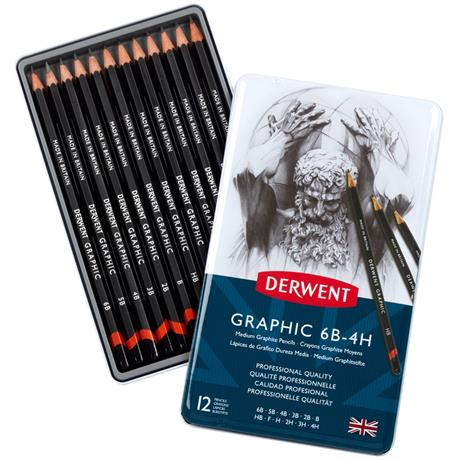 Derwent Graphic Pencils Medium (Designer) Tin of 12 Image 1
