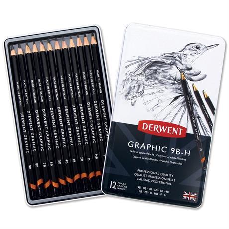 Derwent Graphic Pencils Soft (Sketching) Tin of 12 Image 1