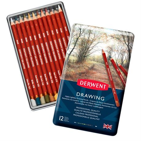 Derwent Drawing Pencils Tin of 12 Image 1