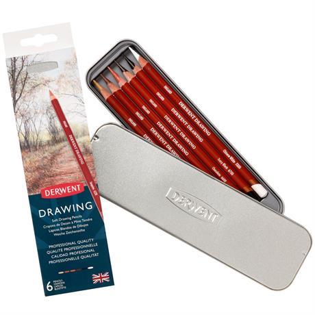 Derwent Drawing Pencils 6 Tin Image 1