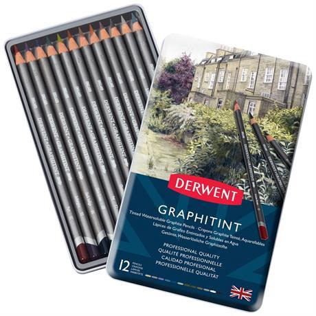 Derwent Graphitint Pencils Tin of 12 Image 1
