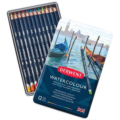 Derwent Watercolour Pencils Tin of 12 Image 1