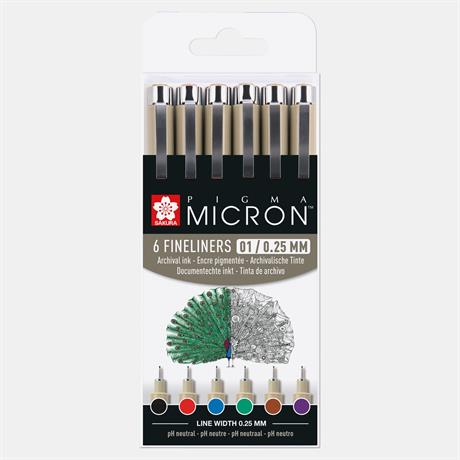 Pigma Micron Fineliners Wallet 6 Colours 01/ 0.25mm Image 1