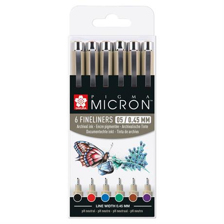 Pigma Micron Fineliners Wallet 6 Basic Colours 05/ 0.45mm Image 1