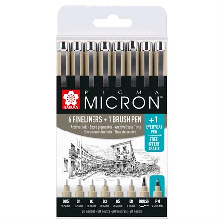 Pigma Micron Wallet 6 Fineliners + 1Brush + 1PN Image 1