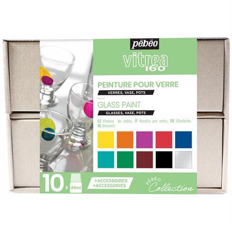 Pebeo Vitrea 160 Collection Set 10 x 45ml No.1 Colours Image 1