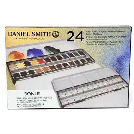 Daniel Smith 24 Watercolour Half Pan Metal Box Image 1