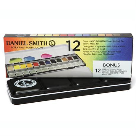 Daniel Smith 12 Watercolour Half Pan Metal Box Set Image 1