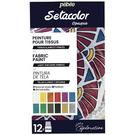 Pebeo Setacolor Shimmer Explorer Set 12 x 20ml Image 1