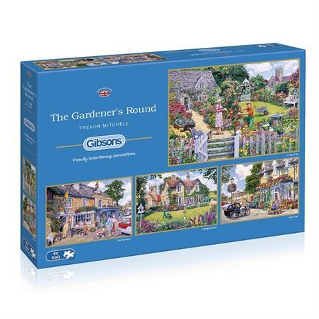 Gardener's Round 4 x 500 Piece Jigsaw Puzzles Image 1