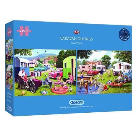 Caravan Outings 2 x 500 Piece Jigsaw Puzzle Image 1