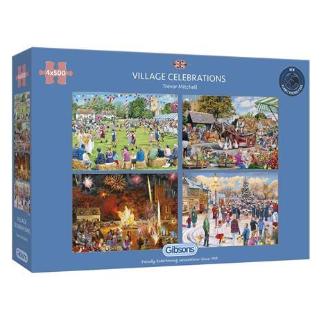 Village Celebrations 4 x 500 Piece Jigsaw Puzzle Image 1