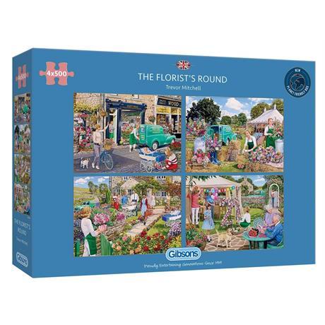The Florist's Round 4 x 500 Piece Jigsaw Puzzle Image 1