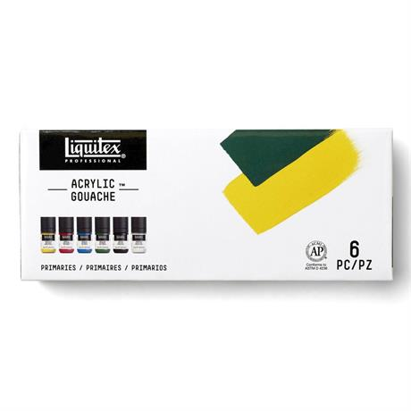 Liquitex Professional Acrylic Gouache Primaries Set 6x22ml Image 1
