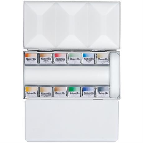 Maimeri Blu Watercolour Paint Metal Box Set With 12 Half Pans Image 1