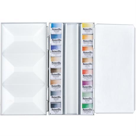 Maimeri Blu Watercolour Paint Metal Box Set With 16 Half Pans Image 1