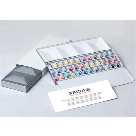 Maimeri Blu Watercolour Paint Metal Box Set With 36 Half Pans Image 1