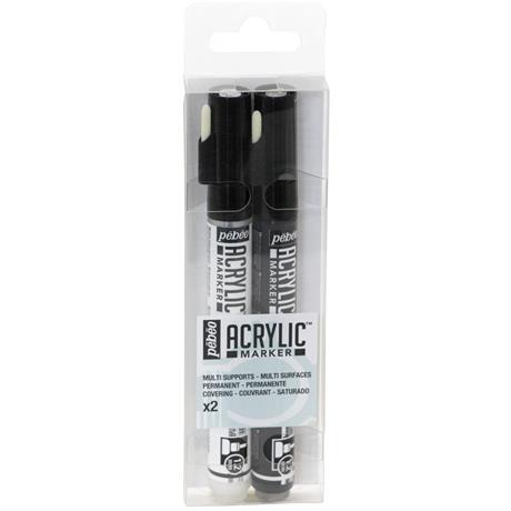 Pebeo Acrylic Marker Set White & Black 1.2mm Image 1