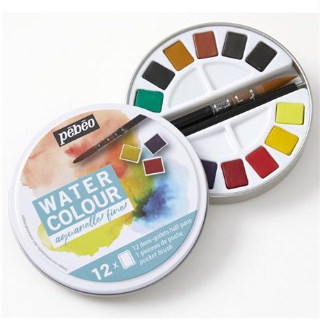 Pebeo Watercolour Classic 12 Half Pan Round Metal Tin Image 1