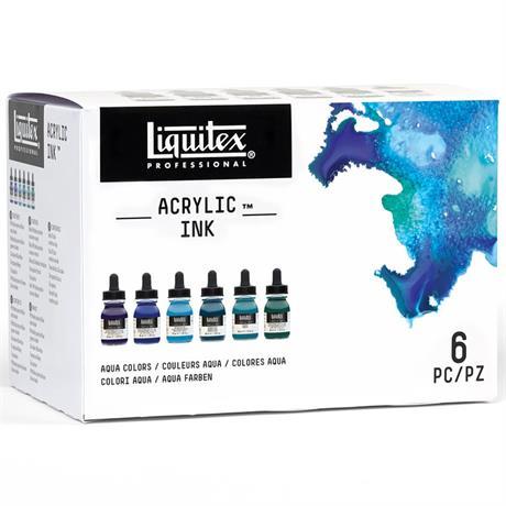 Liqiutex Acrylic Ink Aqua Colours Set 6x30ml Image 1